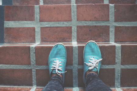 dirty feet: Selfie of sneakers Stock Photo
