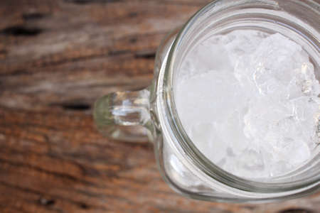 refrigerate: Ice cubes on jar Stock Photo