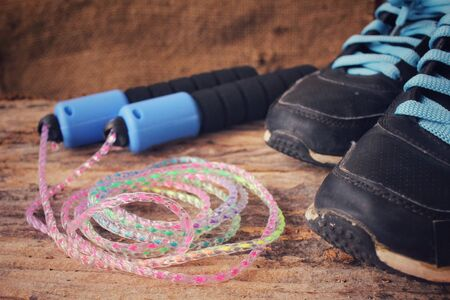 skipping: Skipping rope with shoes sport