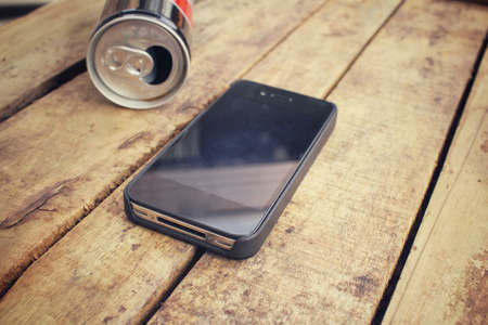 aluminum can: Smart phone with aluminum can