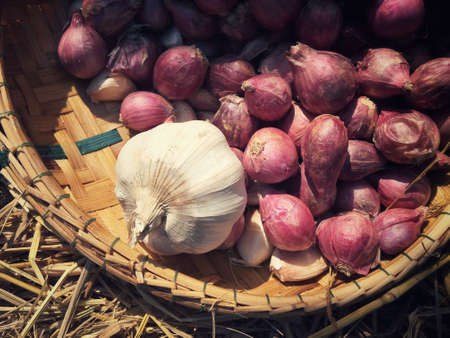 red onions: Red onions and garlic Stock Photo