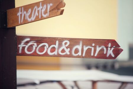 a signboard: Food and drink signboard Stock Photo