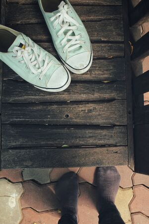 sneakers: Selfie of sneakers and foot