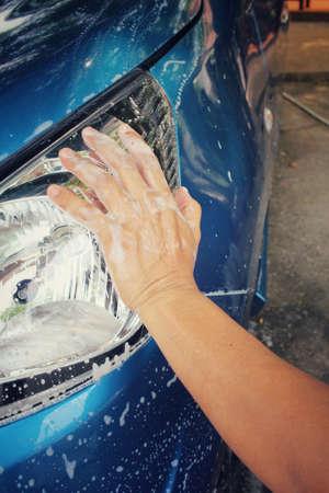 washing car: Washing car