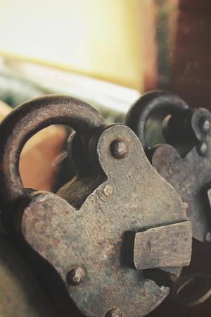 safeguards: Ancient padlock and keys