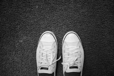 doormat: Selfie of shoes with doormat Stock Photo