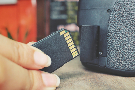 SD Card with camera. Stock Photo