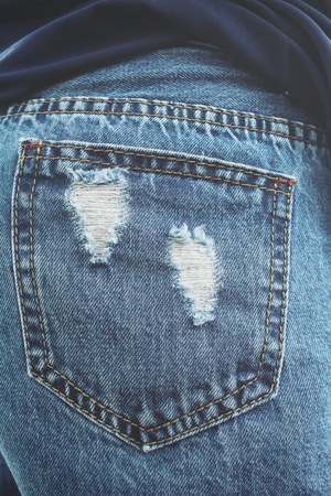 jeans pocket: Jeans pocket Stock Photo