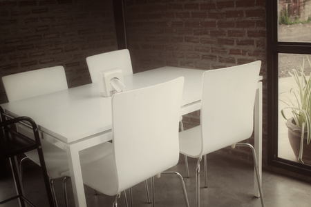 chairs: Table with chairs Stock Photo