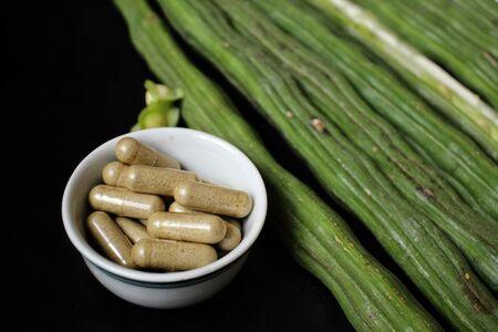 moringa: Moringa with capsule Stock Photo