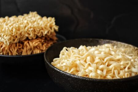 Dry instant noodle Stock Photo