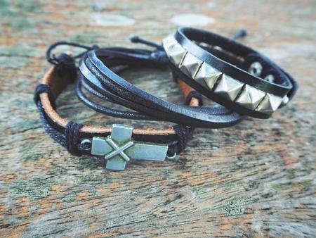 Leather bracelet on hand