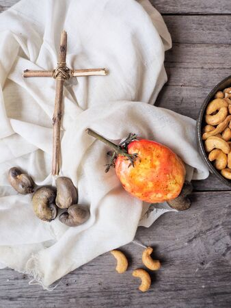Cashew nuts with cross Stock Photo