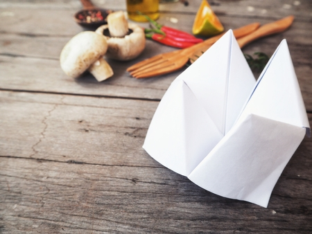 Paper fortune teller at kitchen Stock Photo