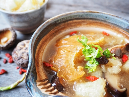 Chinese soup and fish maw with shark fin