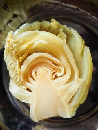 겨자 초록색 중국 요리 절임