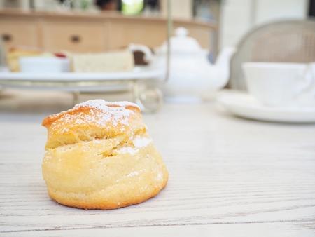 scones: Scones with english tea Stock Photo