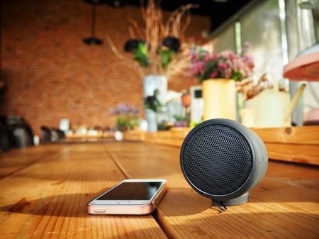 Bluetooth speaker with smart phone Stock Photo