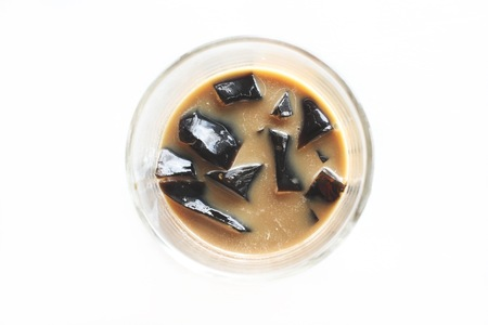 Coffee jelly isolated white background 版權商用圖片