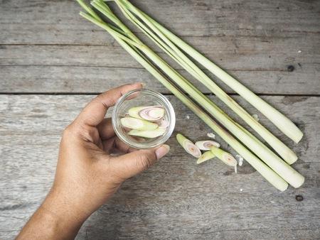 Lemon grass herb on hand