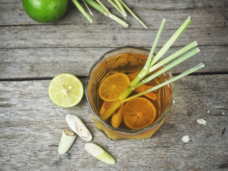 Lemon grass tea on wood background Stock Photo