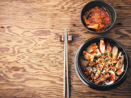 Army stew with noodle background with text space Korean food