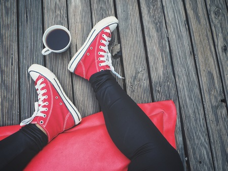 Selfie of red sneakers and coffee cup lifestyle so cool
