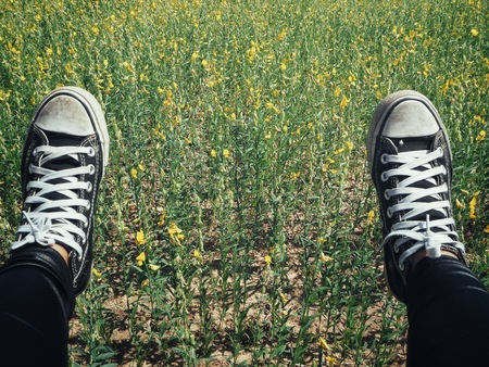 Selfie of black sneakers and flowers  lifestyle so cool Banco de Imagens