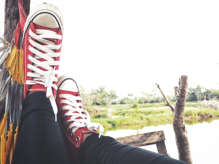 Selfie of red sneakers lifestyle so cool