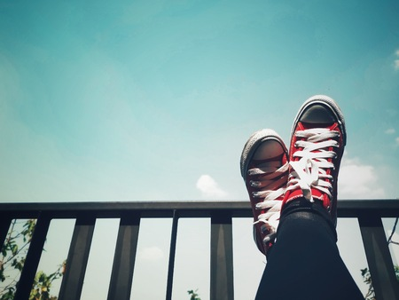 Selfie of red sneakers and blue sky lifestyle so cool
