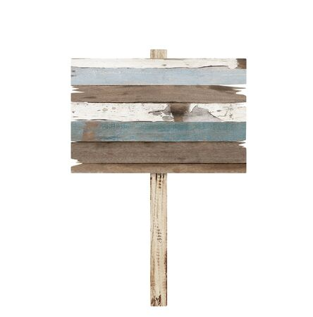 old sign: Old weathered wood sign isolated Stock Photo