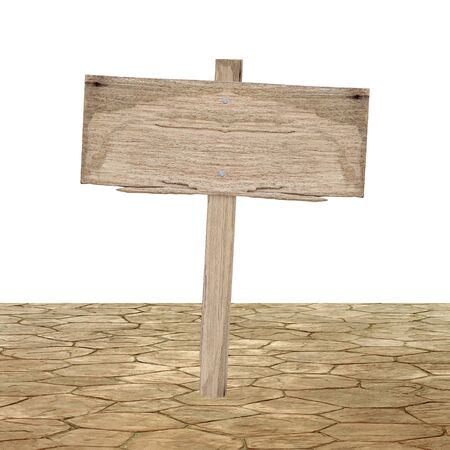 grunge wood: Wooden sign on ground isolated