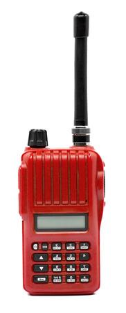 secret society: Red radio communication on white background Stock Photo