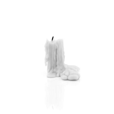shaddow: A burning candle isolated on white background with light shaddow and reflection Stock Photo