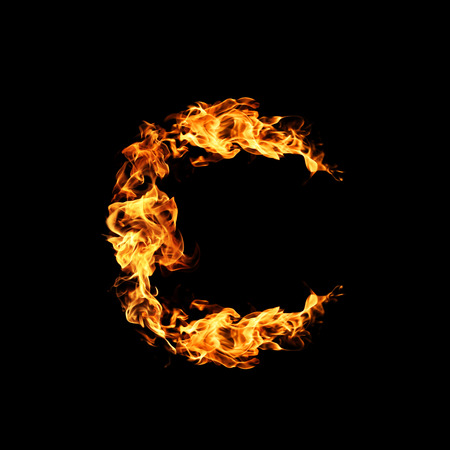 letter c: Fire letter C. Stock Photo