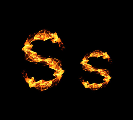 fire background: Fire letter S.