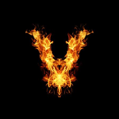 fire letter: Fire letter V. Stock Photo