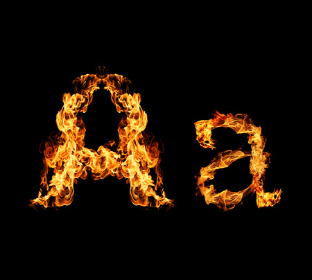 fire letter: Fire letter A. Stock Photo