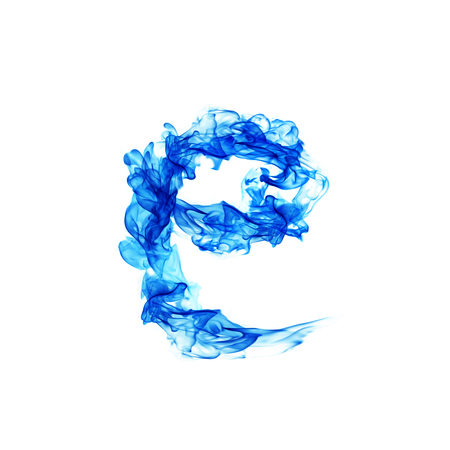 flame letters: Blue Fire letter E. Stock Photo