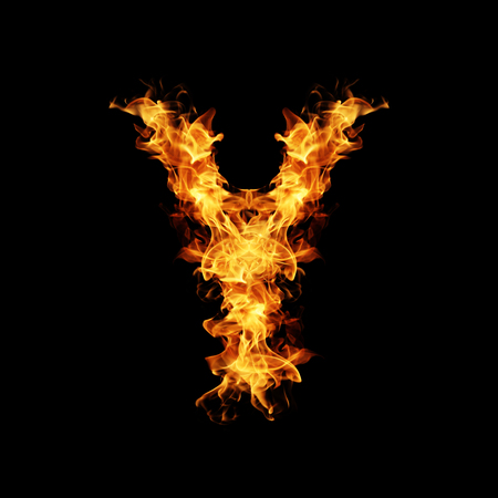 letter word: Fire letter Y. Stock Photo