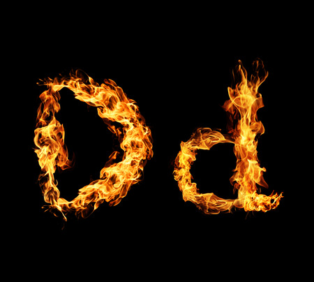 flame letters: Fire letter D.