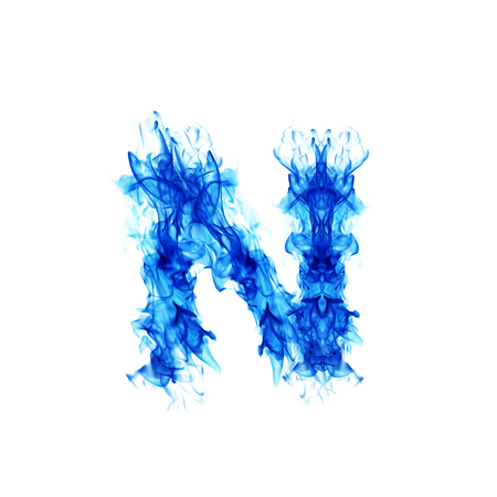 blue fire: Blue Fire letter N. Stock Photo