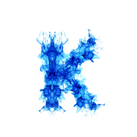flamboyant: Fire blue letter K.