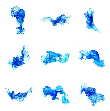 blue flames: set of blue flames isolated on white background