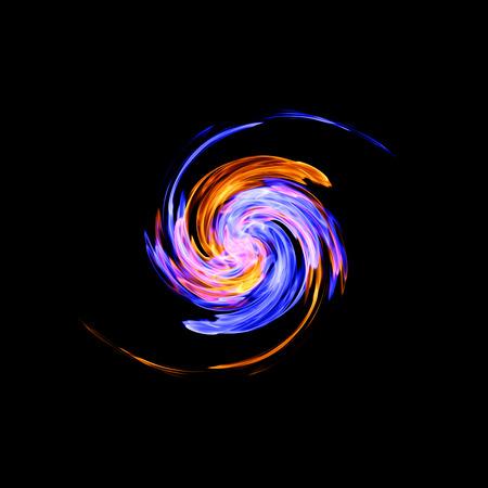 Yin-yang symbol, ice and fire Stock Photo