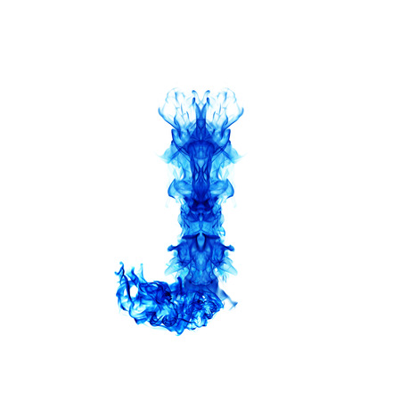 blue flame: Blue Fire letter J.