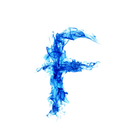 flamboyant: Blue Fire letter F. Stock Photo