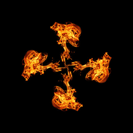 Fire isolated on black background. Stock Photo