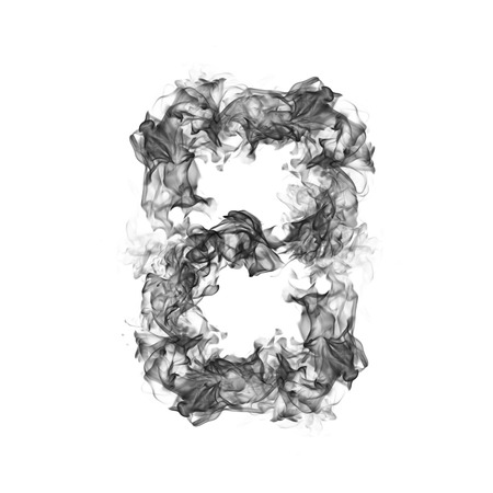 flame letters: Smoke Number 8 Stock Photo