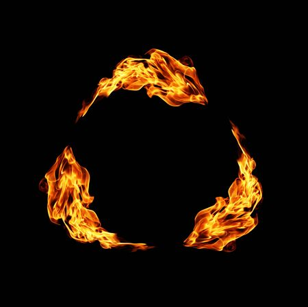 ignition: Recycling symbol, covered in flames.